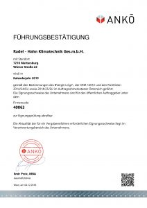 Radel Hahn Klimatechnik Fuerungszertifkat ANKOE 2019